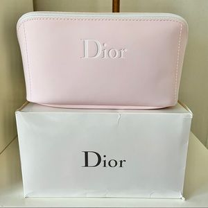 NWT Dior Logo Pink Pouch Cosmetic Bag Makeup Case
